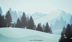 Flat illustration featuring a field with some trees and mountains on the horizon. Designed in soft tones of gray and blue.