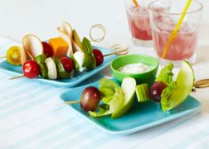 Salad on a Stick by sweetpotatochronicles.: Helps make eating fruits and veggies fun! Photo by Maya Visneri.  #Lunch #Salad #Kids