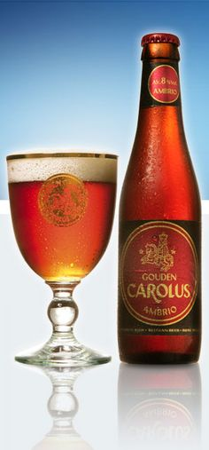 Gouden Carolus Ambrio 8% 8/10 Brewery Het Anker. For centuries the Mechelenians drank their own 'amber' coloured city beer: 'Mechelschen Bruynen'. The recipe originates from the 14th century. The balance between the different malts, the fine hops and the typical taste of herbs creates a perfect harmony between the powerful taste of brown beers and the light freshness of blonde beers. This aromatic light-brown beer is at his best served cool.