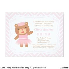 68795f936b46 Cute Teddy Bear Ballerina Baby Shower Invitations