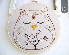 Embroidery Pattern PDF Owl Autumn and Fall Ohli the Owl