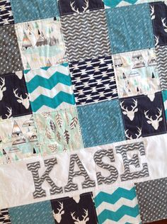 Personalized Baby Quilt-Patchwork Baby Blanket-Modern Baby Quilt-Arrows-Woodland-Deer Head Quilt-Baby Minky Blanket-Baby Gift-Crib Bedding by bbsprouts on Etsy https://www.etsy.com/listing/266722314/personalized-baby-quilt-patchwork-baby