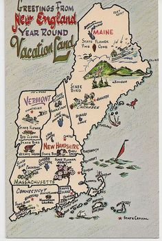 Greetings from New England Vacation Land Vintage Map postcard Maine Vermont New Hampshire Massachusetts Connecticut Rhode Island http://picturesfunnys.blogspot.com/