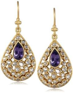 Lauren Harper Collection 18k Gold, Tanzanite and Champagne Rose Cut Diamond Pear Earrings. $2520