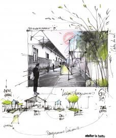 Sketch and concept from the Atelier le Balto the ex-Customs Office