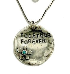 stamped sterling silver customized promise necklace - Together forever.
