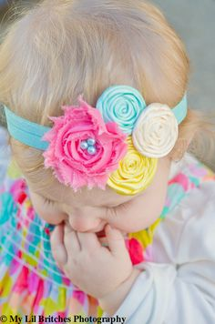 Baby Headband... Rose Headband - Headband. $13.95, via Etsy.Three rolled roses and one shabby chic flower.... I can do this.