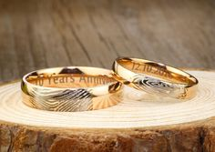 Your Actual Finger Print Rings, His and Her Promise Rings, Rose Gold Wedding Anniversary Titanium Rings Set