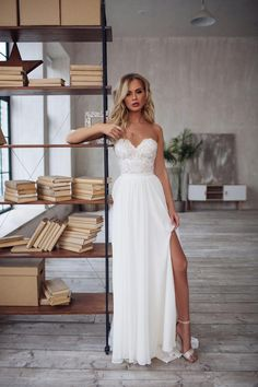 LORIE Wedding Dress Strapless Side Split White Ivory Bridal Dress Open Back Wedding Gowns Sexy Backless floor Length Slit Wedding Dress, How To Dress For A Wedding, Slit Dress, The Dress, Chiffon Dress, Strapless Dress, Chiffon Wedding Gowns, Gown Wedding, Bridal Gown