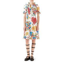 Gucci Corsage-Print Cotton Dress