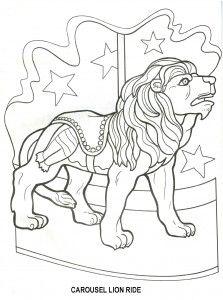 Free- Carousel lion ride amusement park craft pattern outline