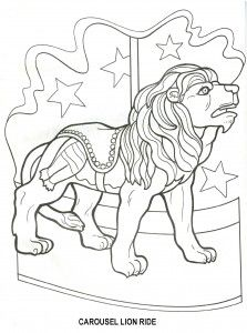 Free- Carousel lion ride amusement park craft pattern outline