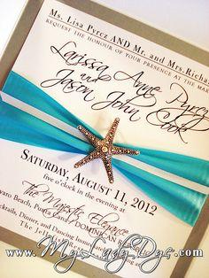 Elegant Modern Starfish Embellished Petalfold Wedding Invitation - By My Lady Dye by My Lady Dye, via Flickr