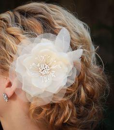 Fiona bridal hair flower bridal fascinator Silk by AmieNoelDesigns, $46.00