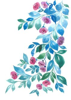 Peonies and blue leaves Art Print