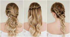 hair pins worked into waterfall plait half up do and dutch braid