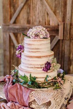 Barley naked wedding cake. Purple flowers. Rustic, boho, shabby chic