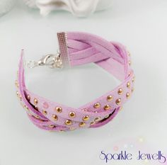 Pink faux suede braided bracelet