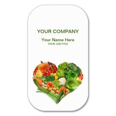 http://www.zazzle.com/fruits_and_vegetables_heart_business_business_card-240773318939493426?rf=238756979555966366&tc=PinLA  >>> Personalzie your own custom gift. View our gifts at http://www.zazzle.com/latinamericafocus?rf=238756979555966366&tc=PinLA #Kitchen #Food #Spanish #Latino