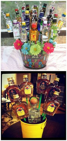 "diychristmascrafts:  DIY Booze Bouquet Tutorial from Creative Simplicity here. Top Photo: DIY by Creative Simplicity. Bottom Photo: The more ""manly"" version of the booze bouquet here.  truebluemeandyou: I get asked all the time about gifts for men and often mention the ""booze bouquet"" for adults over 21 years of age. This is a good tutorial from Creative Simplicity. Also the bottom photo has a good idea for the ""dirt"". For more manly gifts go…"