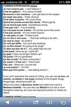 French expressions and their English equivalent! French Expressions, French Language Lessons, French Language Learning, French Lessons, German Language, Spanish Lessons, Japanese Language, Spanish Language, French Slang