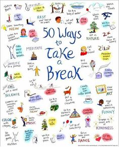 50 Ways To Take To Break! Step Away From The Books. For now... #study #breaks
