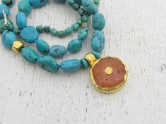 24k gold Turquoise and Carnelian Necklace  Statement by Omiya
