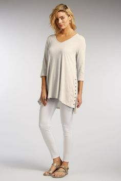 Womens organic cotton Button Tunic Top in white sugar by Indigenous
