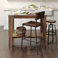 """Rustin Kitchen Island: acacia wood frame, stainless steel top. 48""""W x 32""""D x 38""""H (counter height) west elm $499"""