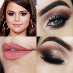 Selena Gomez Grammy Makeup Tutorial 2016 - Prom Makeup For Brown Eyes Selena Gomez Natural, Selena Gomez Eyes, Selena Gomez Makeup, Prom Makeup For Brown Eyes, Blue Makeup, Makeup Inspo, Makeup Inspiration, Beauty Makeup, Celebrity Makeup Looks