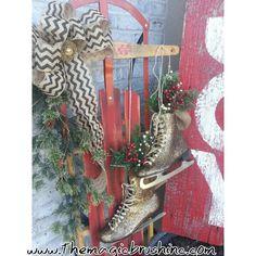 Glittered skates. Vintage sled. Barnwood sign. Burlap bow. Blissss!!! Www.themagicbrushinc.com