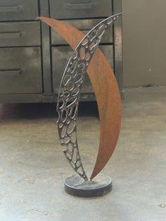 Freestanding Metal Sculpture, Rustic Modern Art, Recycled Metal Garden Art…