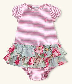 5602e241fd63 Ralph Lauren Childrenswear Newborn StripedFloral Dress With Panty  Dillards  Sewing Patterns Girls