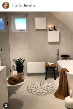 Microcement badrum - Lilly is Love All White Bathroom, Beautiful Home Designs, Toilet Design, Furniture Placement, Dream Bathrooms, Traditional Bathroom, Bathroom Inspiration, Home Interior Design, Decoration