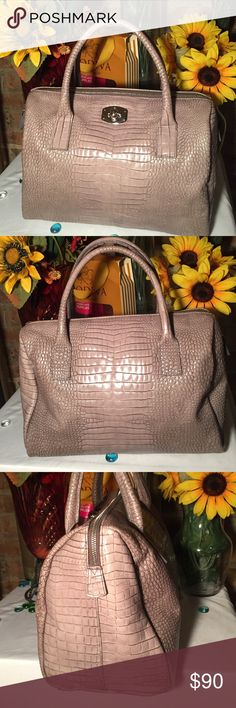 Furla Satchel Bag Sz 10x6x12- (2) 6'- Genuine leather- Medium gray- Great condition only used once- Great bag! Furla Bags Satchels