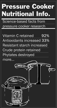 Pressure Cooker Nutritional Information - how nutrients are affected by pressure cooking.