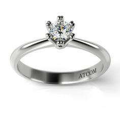 Inel de logodna cu diamant Karmel din aur alb