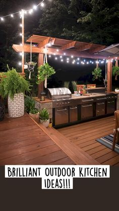Outdoor Cooking Area, Outdoor Kitchen Patio, Outdoor Kitchen Countertops, Outdoor Kitchen Design, Outdoor Decor, Outdoor Living, Outdoor Kitchens, Wood Patio, Kitchen Cabinets