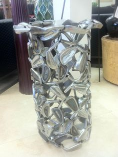 new arrival! umbrella stand made from golf clubs. perfect gift for golf fans. Labor day sale happening now at Home and Garden Collection in fountain valley.