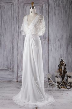 Wedding Dress Off White Chiffon Bride Dress V Neck Bridal Dress Illusion Lace Flare Sleeve Maxi Dress Backless Sweep Train Prom - Women's style: Patterns of sustainability Fairy Wedding Dress, Wedding Gowns, Bridal Dresses, Bridesmaid Dresses, Prom Dresses, Different Dresses, Nice Dresses, Tulle, Maxi Dress With Sleeves