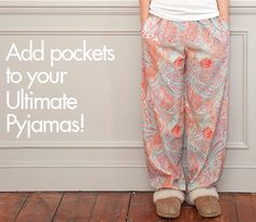 Add Pockets to your Ultimate Pyjamas: Bonus Pocket Pattern Piece - Sew Over It Pajama Pants Pattern, Pants Pattern Free, Sewing Patterns Free, Sewing Tutorials, Sewing Projects, Shirt Patterns, Clothes Patterns, Dress Patterns, Sewing Ideas