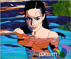 Women swimming stained glass pattern, advanced skill level