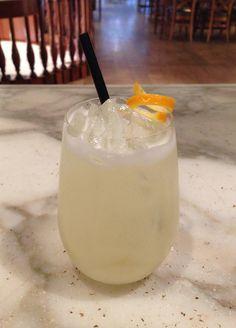Absinthe Sour. 1 oz Absinthe 1 oz sugar syrup 1 oz lemon juice 1 egg white ~ Shake all ingredients with ice Strain over ice into a rocks glass Garnish with an orange or lemon twist.