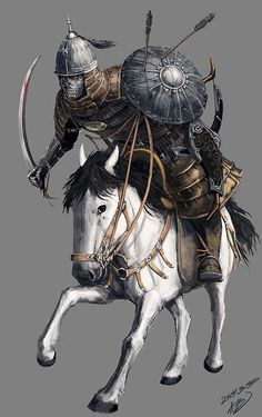 A fantasy version of a Mongolian warrior High Fantasy, Medieval Fantasy, Fantasy Art, Warrior King, Fantasy Warrior, Persian Warrior, Chinese Armor, Legends And Myths, Fantasy Inspiration
