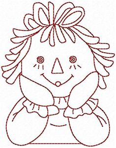 Redwork Raggedy Ann and Andy Machine by StitchXEmbroidery on Etsy