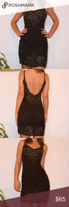 Vintage Beaded Cocktail Dress Low back • beaded spaghetti straps • v-neck • 100% silk • fully lined • some beads missing, hardly noticeable, price reflects damage 💕 Niteline Dresses Mini