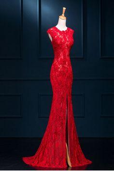 Red Prom Dresses, Lace Prom Dress, Mermaid Prom Dress, 2016 Prom Dress, dresses for prom, fashion prom dress, unique prom dress. 17146