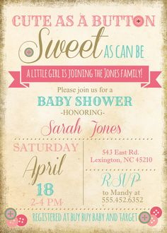 vintage cute as a button baby shower invite invitation with buttons vintage old paper printed invites