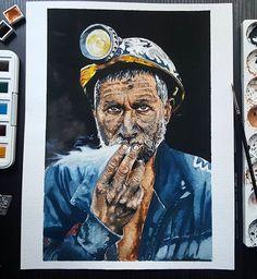 Yanan bizdik, siz kömür sandınız. #miner #coal #watercolor #watercolour #drawing #art #portrait #painting #artwork #artlove #suluboya #resim #sanat #madenci #kömür #vangogh #artcreation #instagram