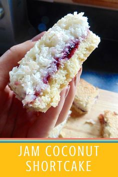 Buttery shortbread topped with sweet fruity jam and chewy coconut. Tray Bake Recipes, Cooking Recipes, Bar Recipes, Vegetarian Recipes, Coconut Recipes, Coconut Cakes, Lemon Cakes, Jam And Coconut Cake, Recipes